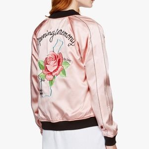 Opening ceremony pink lady reversible silk bomber